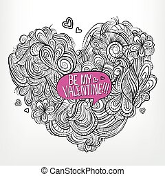 Be my Valentine. Drawing vector Greeting card
