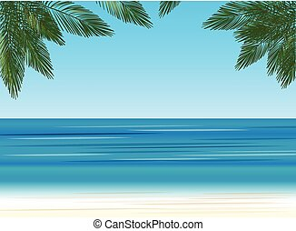 palm trees on the background of the sea