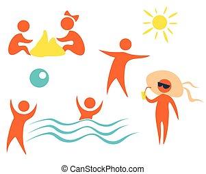 beach icons set