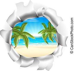 Beach Scene Through Background