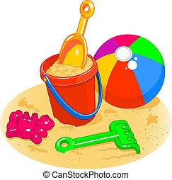 Cartoon style illustrations of a beach ball, pail, shovel and rake