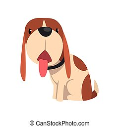 Beagle dog sitting with tongue hanging out, cute animal cartoon character vector Illustration on a white background