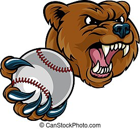 Bear Holding Baseball Ball