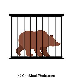 Bear in cage. Animal in Zoo behind