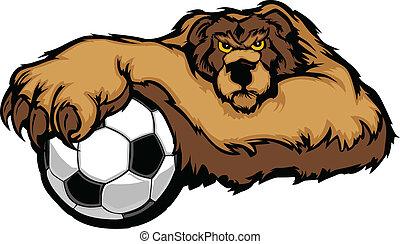 Bear Mascot with Soccer Ball Vector