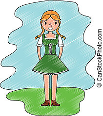 beautiful bavarian woman in traditional dress