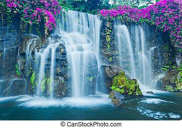 Beautiful Blue Waterfall in Hawaii