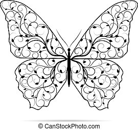 Beautiful butterfly with floral pattern.