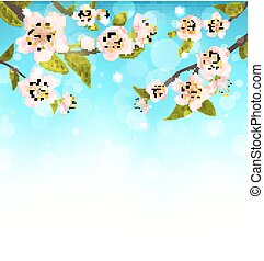 Cherry Blossom, Branches of Tree, Natural Glowing Background