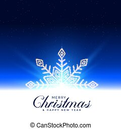 beautiful christmas background with glowing winter snowflake