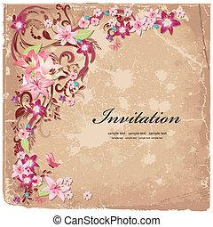 Beautiful floral design invitation card