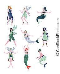 Beautiful Forest Fairies, Nymphs, Mermaids, Sirens Set Vector Illustration