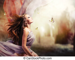 Beautiful Girl in Fantasy Mystical and Magical Spring Garden