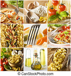 beautiful pasta collage made from nine photgraphs