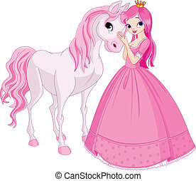 Beautiful princess and horse