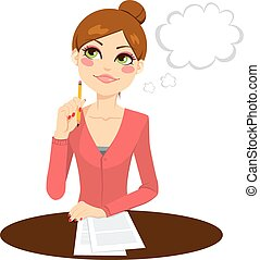 Beautiful secretary thinking concept holding a pencil and writing documents