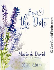 Beautiful wedding invitation with watercolor flowers. Save de date card