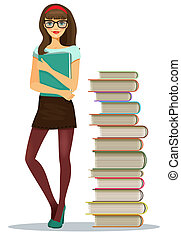 Beautiful young girl student wearing glasses clutching a file of notes standing alongside stacked books in a tall tower vector illustration