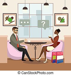 african american woman and caucasian male drinking coffee and talking