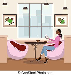 Beauty african american woman drinking coffee in a cafe.