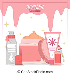 beauty routine cosmetics skincare products cartoon card
