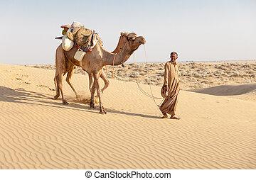 Bedouin and camels in sand dunes in desert