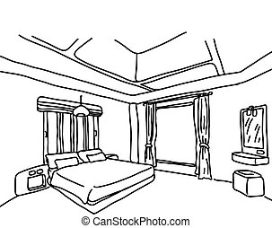 bedroom vector illustration sketch doodle hand drawn with black lines isolated on white background