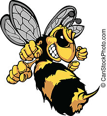 Cartoon Vector Image of a Yellow Jacket Wasp with Fighting Hands