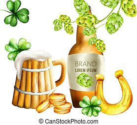 Watercolor beer bottle with green artichoke and shamrock decorations. Wood mug with foam. Gold coins and horseshoe. Holiday vector