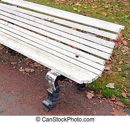 Bench in the park close up.