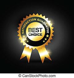 stylish blue best choice label sign