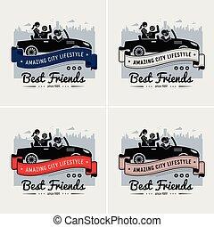 Best friends and friendship logo or banner design.