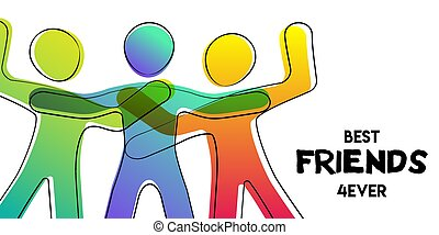 Best friends card of colorful stick figure people