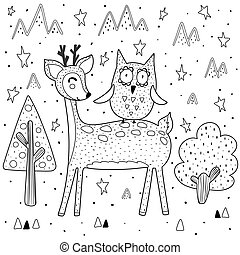 Best friends coloring page with funny deer and owl