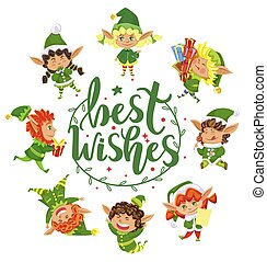Best Wishes Greeting Card with Elves Xmas Holidays