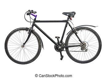 Black bicycle isolated on white background