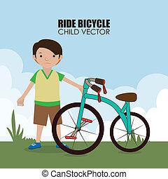 Bicycle design over landscape background, vector illustration