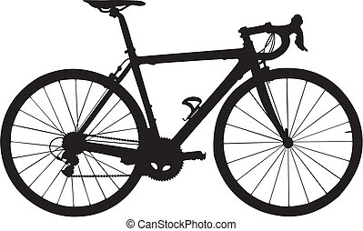 The vector image of a separate silhouette of a bicycle