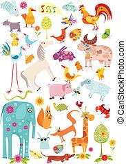vector illustration of a animal set