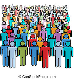A big diverse crowd of colorful social media stick figure people.