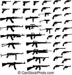 Collection of Gun .Detailed vector illustration. Isolated on white.