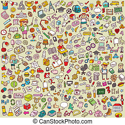 Big School and Education Icons Collection of numerous fine small hand drawn illustrations: objects, icons, people. Individual icons are grouped only in vector version. Illustration is in eps8 vector mode!