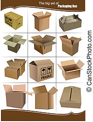Big Set of carton packaging boxes isolated over a white background