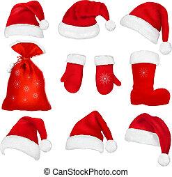 Big set of red santa hats and clothing.