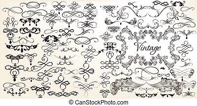 Big set of vintage vector calligraphic elements for design