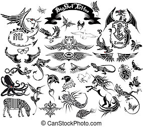 The vector image of a set of sketches for a tattoo