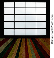 Big windows and grunge plank floor