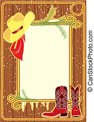 Billboard frame with cowboy hat and boots. Vector christmasn background
