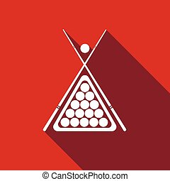 Billiard cue and balls icon with long shadow. Vector Illustration.