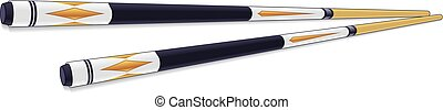 set of 2 billiards sticks with painted design on a white background with shadows